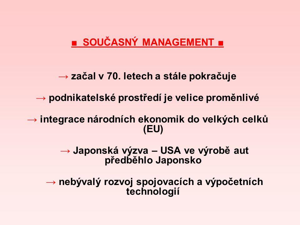 ■ SOUČASNÝ MANAGEMENT ■ → začal v 70. letech a stále pokračuje → podnikatelské prostředí je velice proměnlivé → integrace národních ekonomik do velkýc
