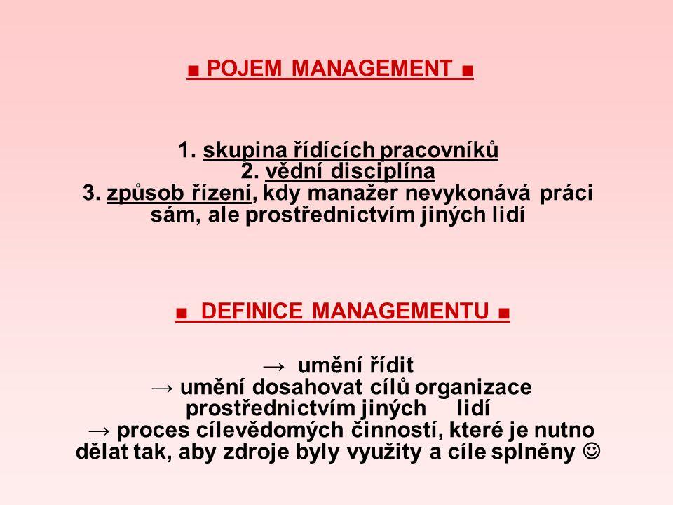 ■ POJEM MANAGEMENT ■ 1. skupina řídících pracovníků 2. vědní disciplína 3. způsob řízení, kdy manažer nevykonává práci sám, ale prostřednictvím jiných