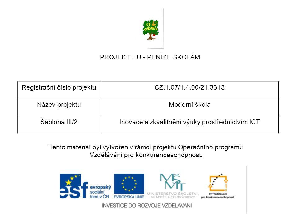 PROJEKT EU - PENÍZE ŠKOLÁM Registrační číslo projektuCZ.1.07/1.4.00/21.3313 Název projektuModerní škola Šablona III/2Inovace a zkvalitnění výuky prost