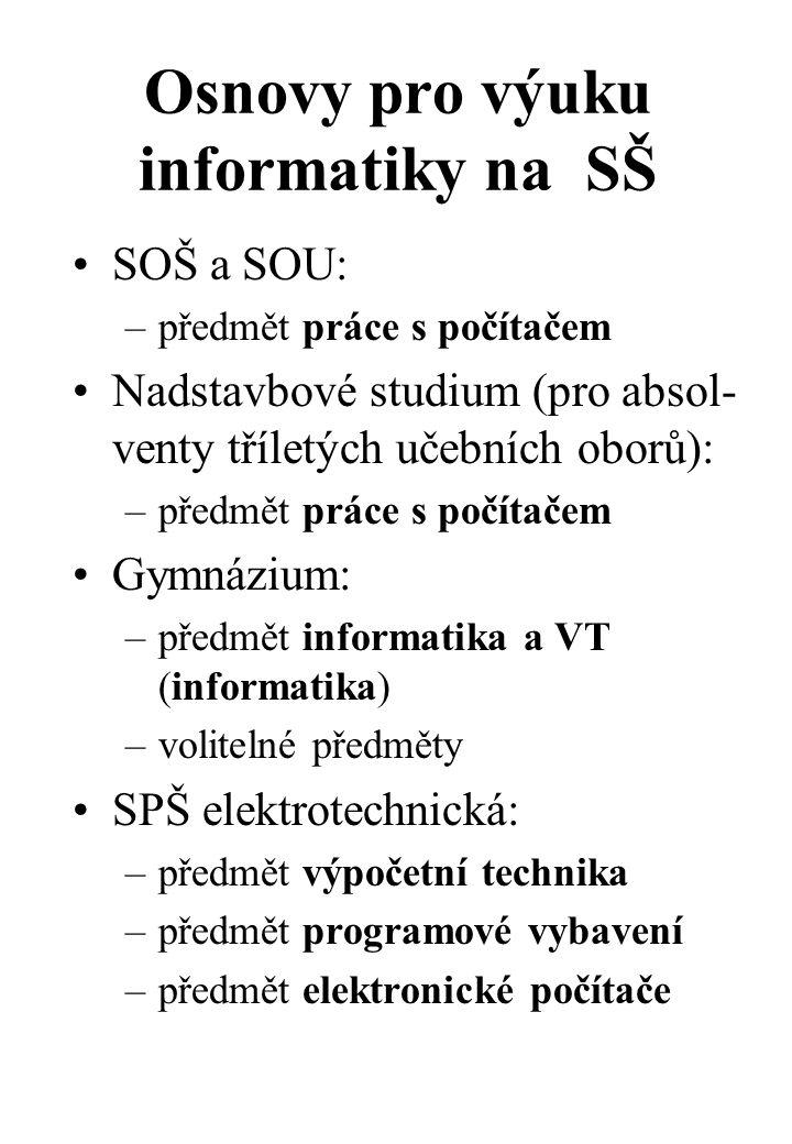 Osnovy pro výuku informatiky na SŠ SOŠ a SOU: –předmět práce s počítačem Nadstavbové studium (pro absol- venty tříletých učebních oborů): –předmět práce s počítačem Gymnázium: –předmět informatika a VT (informatika) –volitelné předměty SPŠ elektrotechnická: –předmět výpočetní technika –předmět programové vybavení –předmět elektronické počítače