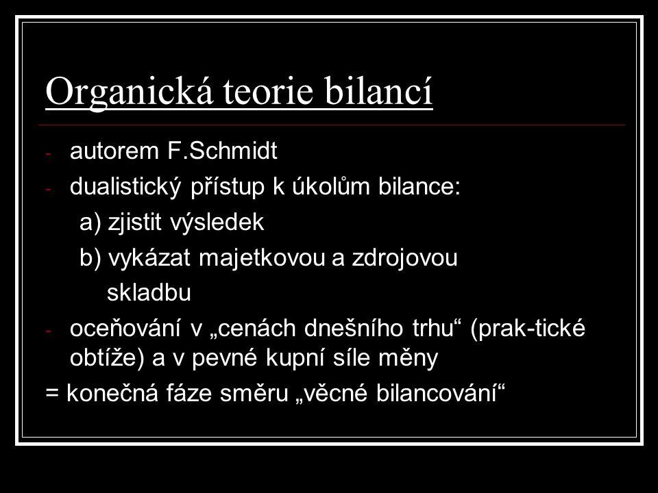 """Organická teorie bilancí - autorem F.Schmidt - dualistický přístup k úkolům bilance: a) zjistit výsledek b) vykázat majetkovou a zdrojovou skladbu - oceňování v """"cenách dnešního trhu (prak-tické obtíže) a v pevné kupní síle měny = konečná fáze směru """"věcné bilancování"""