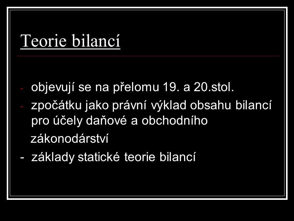 Teorie bilancí - objevují se na přelomu 19. a 20.stol.