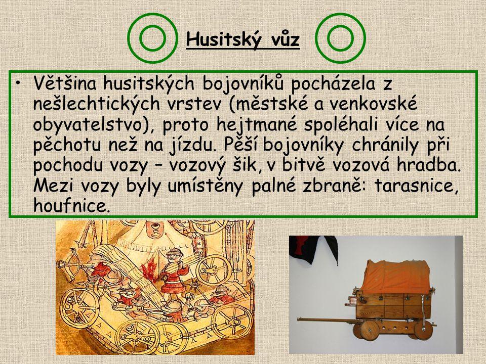 Husitský vůz Většina husitských bojovníků pocházela z nešlechtických vrstev (městské a venkovské obyvatelstvo), proto hejtmané spoléhali více na pěcho