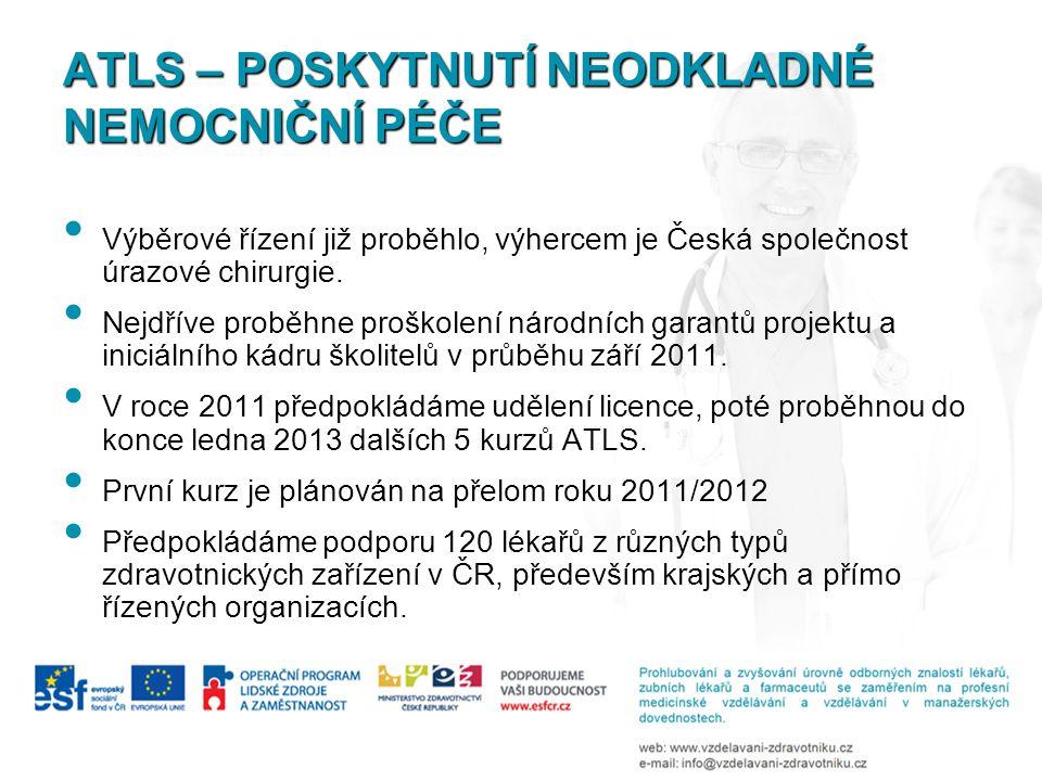 ATLS – POSKYTNUTÍ NEODKLADNÉ NEMOCNIČNÍ PÉČE Výběrové řízení již proběhlo, výhercem je Česká společnost úrazové chirurgie.