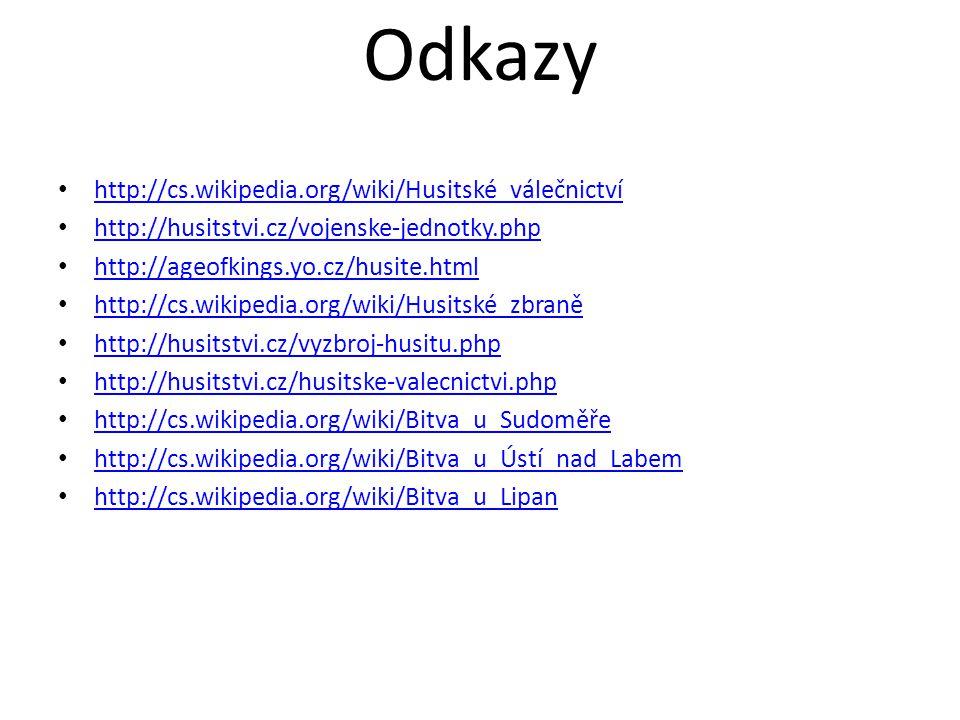 Odkazy http://cs.wikipedia.org/wiki/Husitské_válečnictví http://husitstvi.cz/vojenske-jednotky.php http://ageofkings.yo.cz/husite.html http://cs.wikip