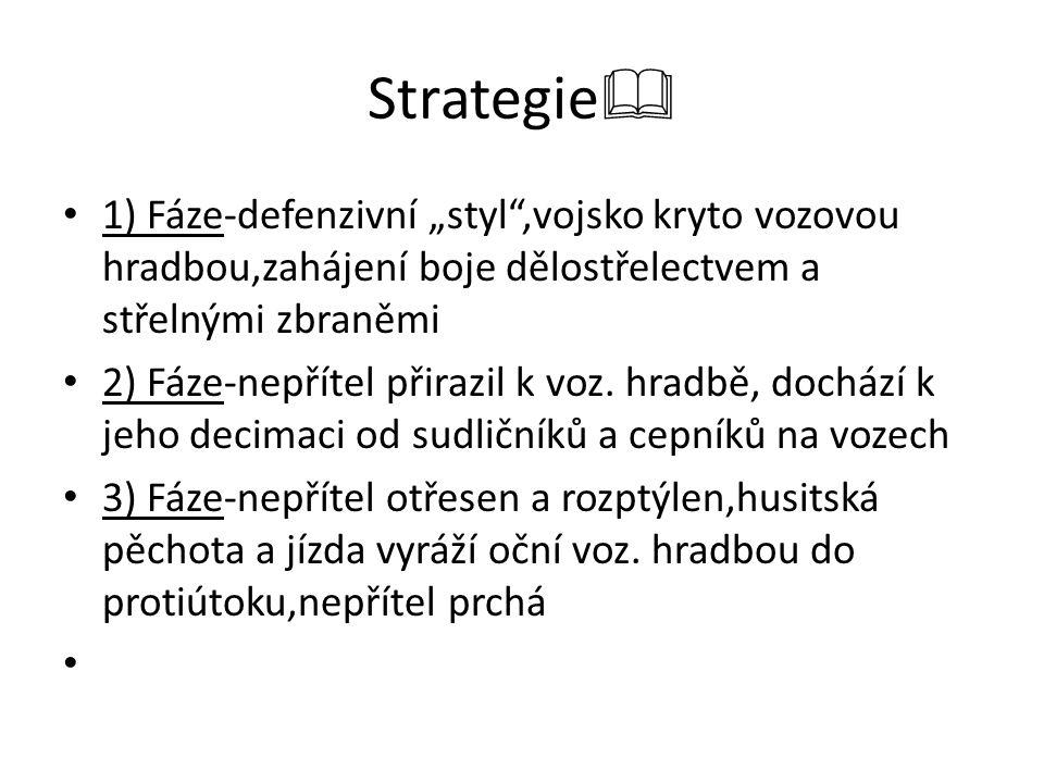 """Strategie  1) Fáze-defenzivní """"styl"""",vojsko kryto vozovou hradbou,zahájení boje dělostřelectvem a střelnými zbraněmi 2) Fáze-nepřítel přirazil k voz."""