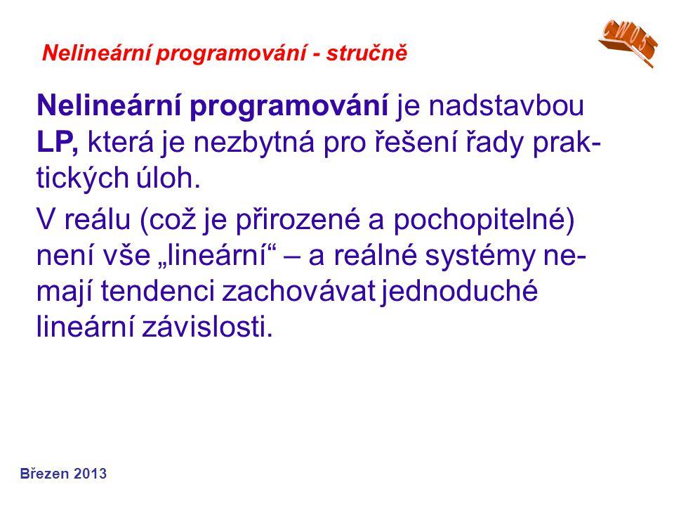 Nelineární programování - stručně Nelineární programování je nadstavbou LP, která je nezbytná pro řešení řady prak- tických úloh. V reálu (což je přir