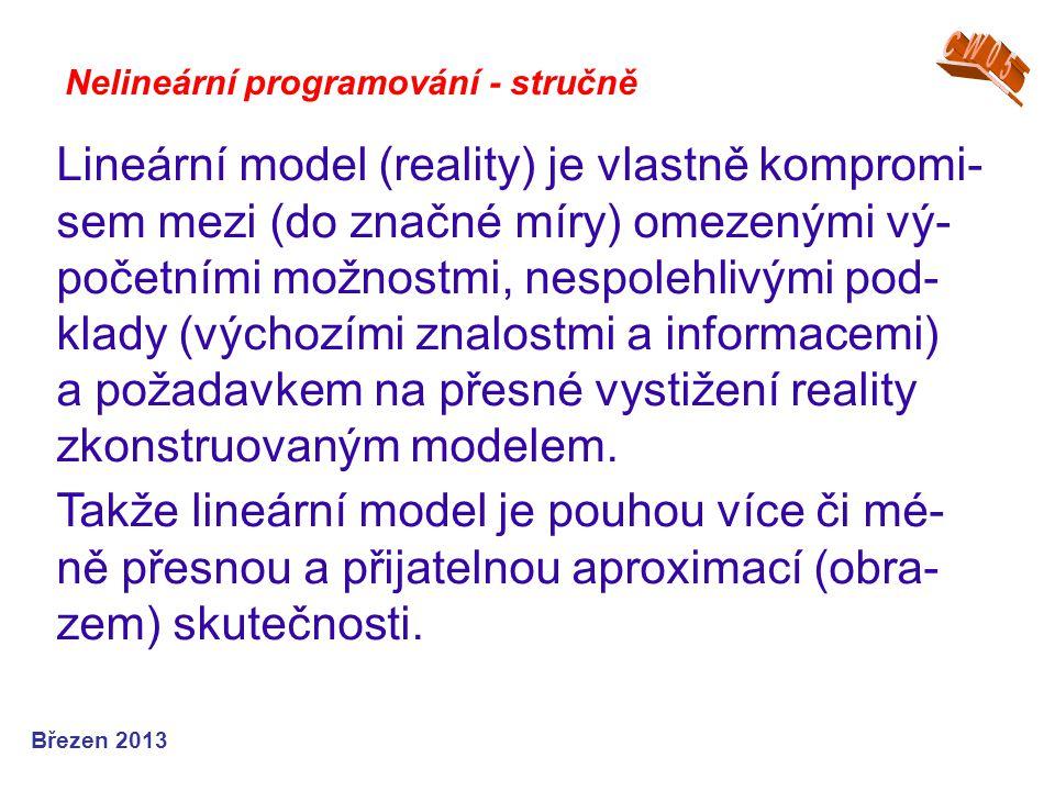Nelineární programování - stručně Lineární model (reality) je vlastně kompromi- sem mezi (do značné míry) omezenými vý- početními možnostmi, nespolehl