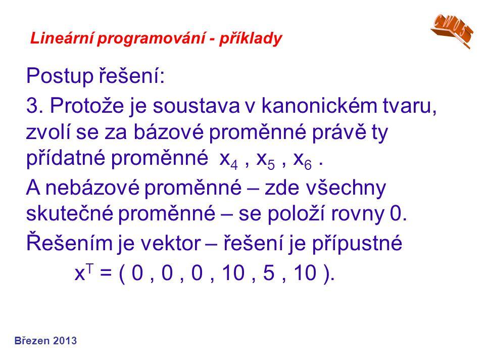 Lineární programování - příklady Postup řešení: 3. Protože je soustava v kanonickém tvaru, zvolí se za bázové proměnné právě ty přídatné proměnné x 4,