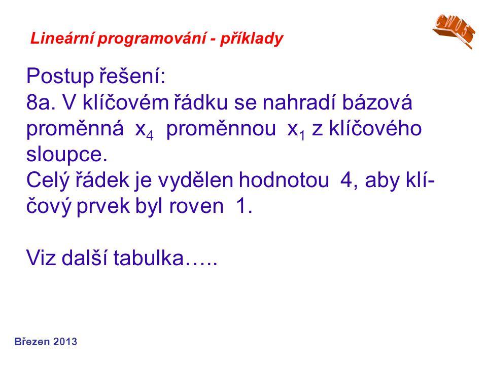Lineární programování - příklady Postup řešení: 8a. V klíčovém řádku se nahradí bázová proměnná x 4 proměnnou x 1 z klíčového sloupce. Celý řádek je v
