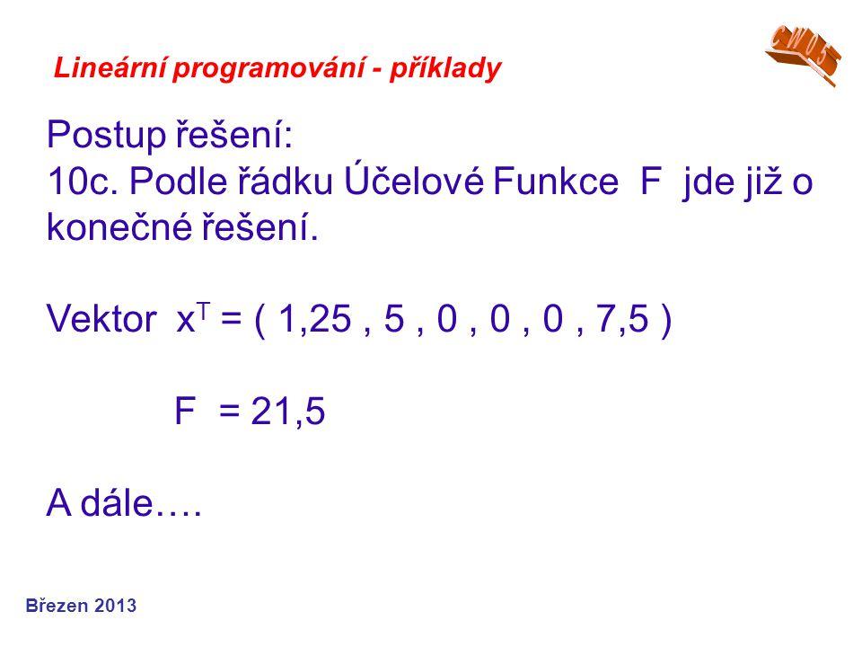 Lineární programování - příklady Postup řešení: 10c. Podle řádku Účelové Funkce F jde již o konečné řešení. Vektor x T = ( 1,25, 5, 0, 0, 0, 7,5 ) F =