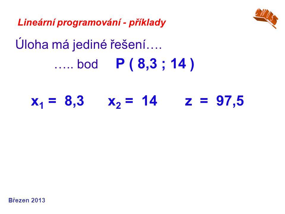 Lineární programování - příklady Úloha má jediné řešení…. ….. bod P ( 8,3 ; 14 ) x 1 = 8,3 x 2 = 14 z = 97,5 Březen 2013