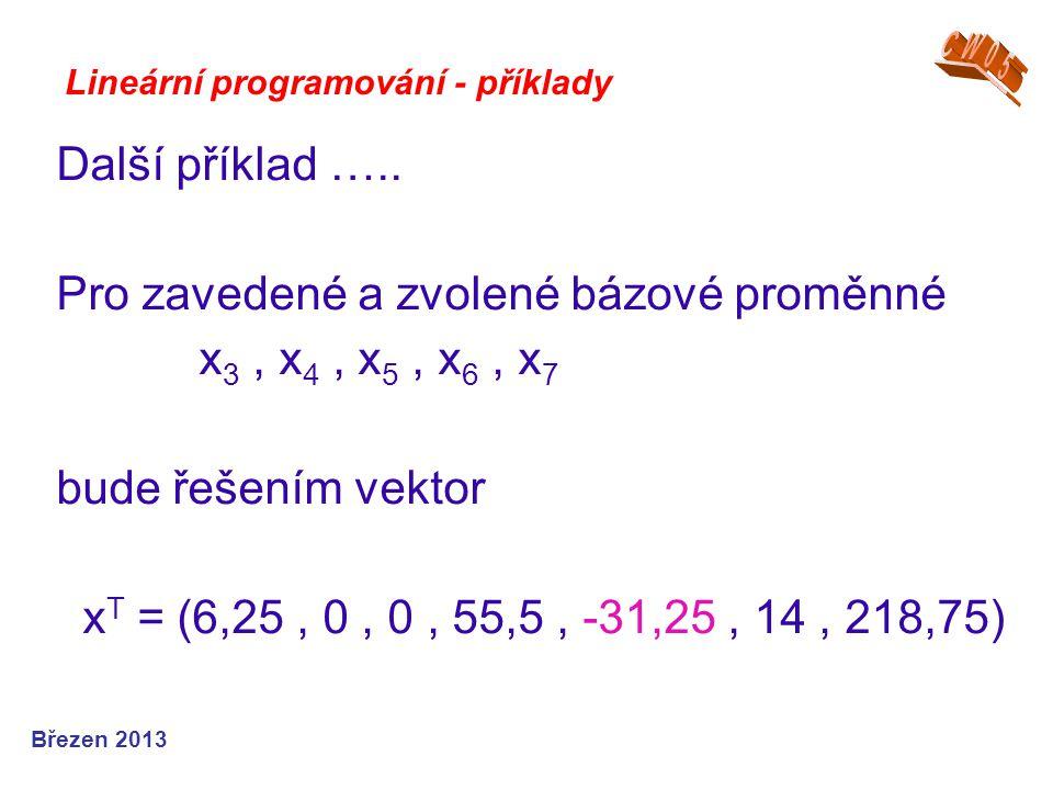 Lineární programování - příklady Další příklad ….. Pro zavedené a zvolené bázové proměnné x 3, x 4, x 5, x 6, x 7 bude řešením vektor x T = (6,25, 0,