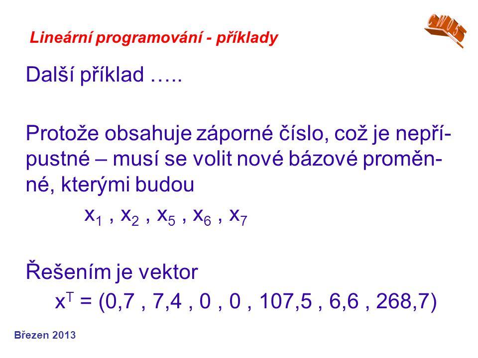 Lineární programování - příklady Další příklad ….. Protože obsahuje záporné číslo, což je nepří- pustné – musí se volit nové bázové proměn- né, kterým