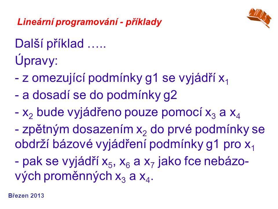 Lineární programování - příklady Další příklad ….. Úpravy: - z omezující podmínky g1 se vyjádří x 1 - a dosadí se do podmínky g2 - x 2 bude vyjádřeno