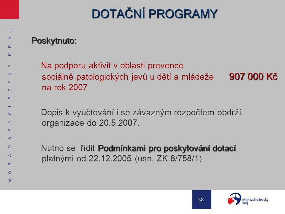M O R A V S K O S L E Z S K Ý K R A J 28 DOTAČNÍ PROGRAMY Poskytnuto: 907 000 Kč Na podporu aktivit v oblasti prevence sociálně patologických jevů u d
