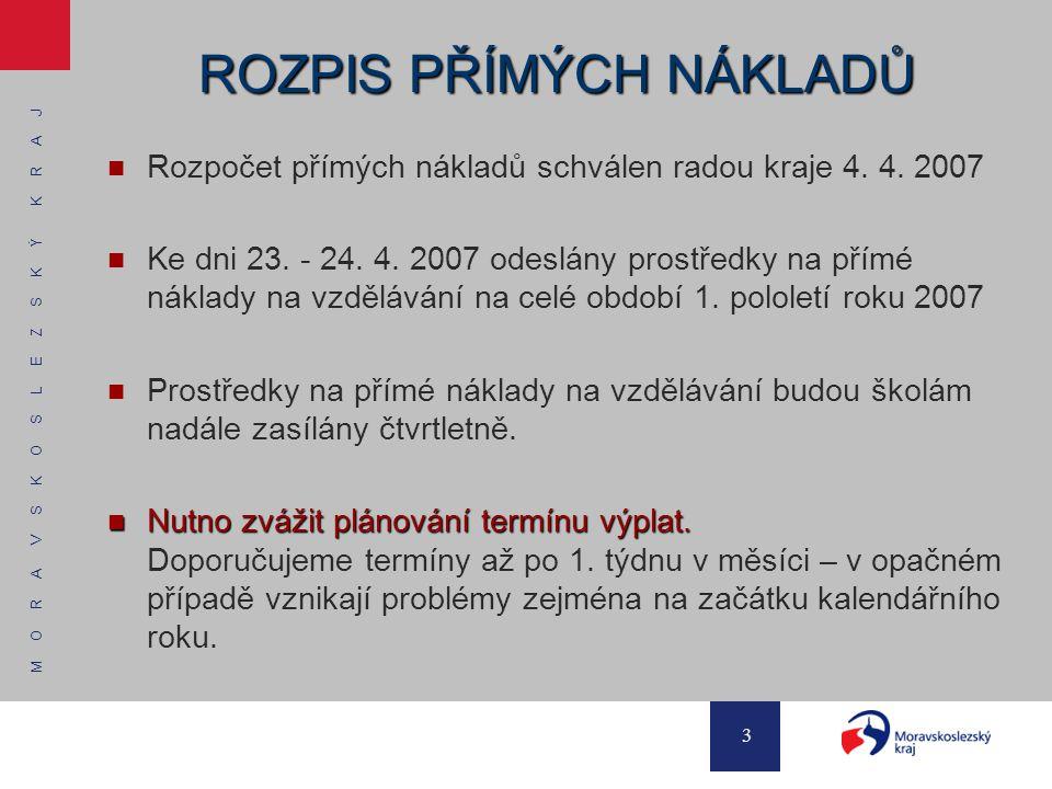 M O R A V S K O S L E Z S K Ý K R A J 3 ROZPIS PŘÍMÝCH NÁKLADŮ Rozpočet přímých nákladů schválen radou kraje 4. 4. 2007 Ke dni 23. - 24. 4. 2007 odesl