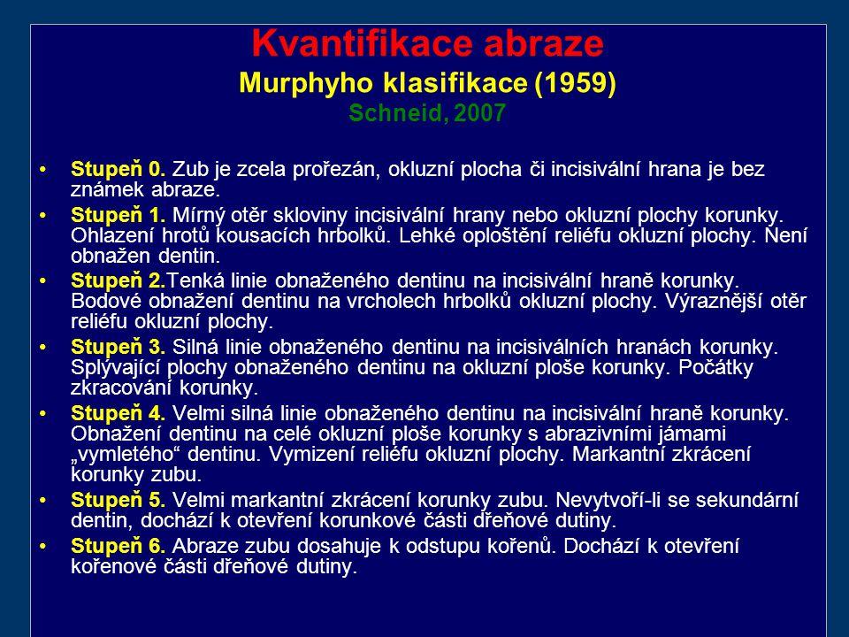 Kvantifikace abraze Murphyho klasifikace (1959) Schneid, 2007 Stupeň 0.