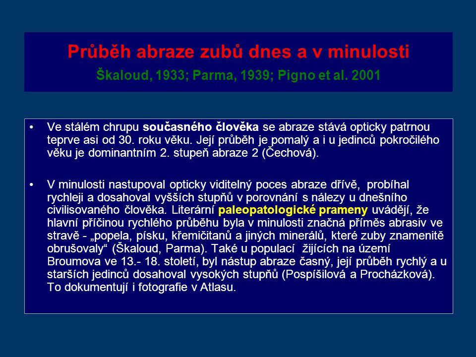 Průběh abraze zubů dnes a v minulosti Škaloud, 1933; Parma, 1939; Pigno et al.