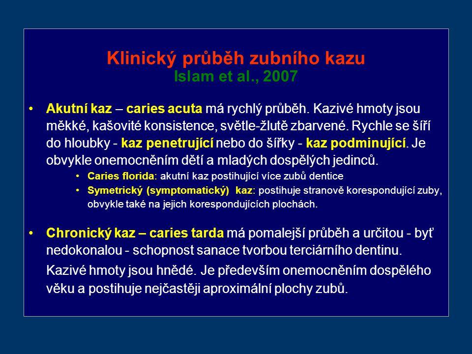 Klinický průběh zubního kazu Islam et al., 2007 Akutní kaz – caries acuta má rychlý průběh.