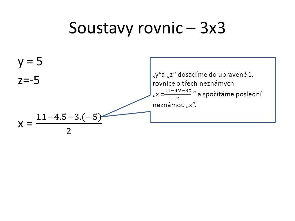 Soustavy rovnic – 3x3