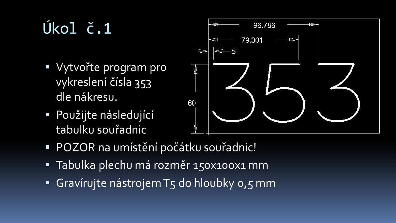 Úkol č.1  Vytvořte program pro vykreslení čísla 353 dle nákresu.  Použijte následující tabulku souřadnic  POZOR na umístění počátku souřadnic!  Ta