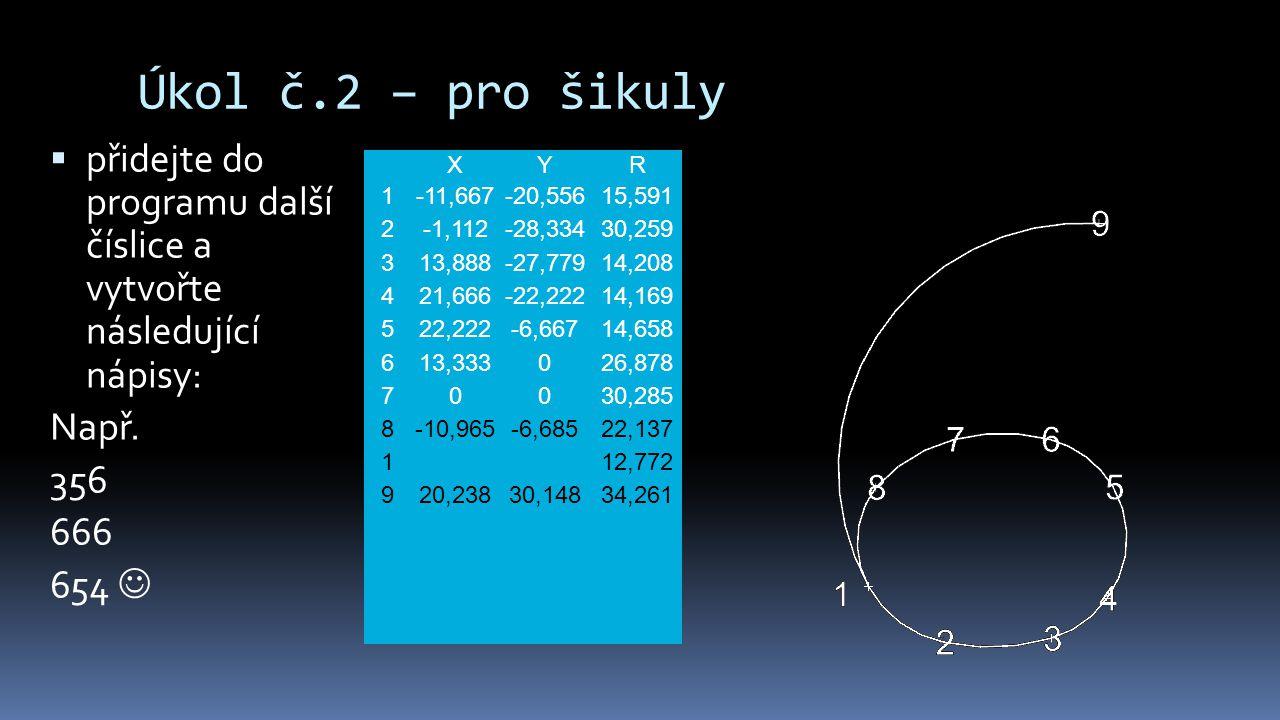 Úkol č.2 – pro šikuly  přidejte do programu další číslice a vytvořte následující nápisy: Např. 356 666 654 XYR 1-11,667-20,55615,591 2-1,112-28,33430