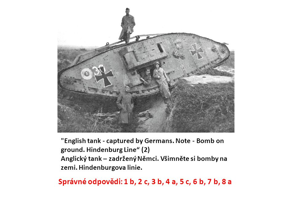 English tank - captured by Germans. Note - Bomb on ground.