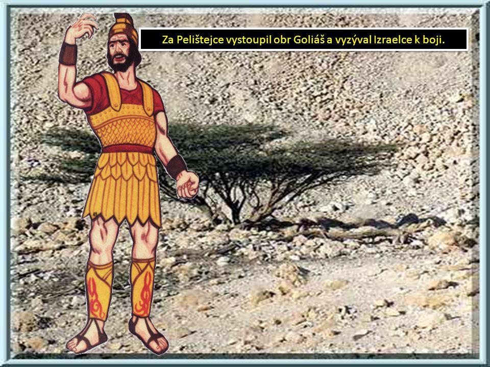 Za Pelištejce vystoupil obr Goliáš a vyzýval Izraelce k boji.