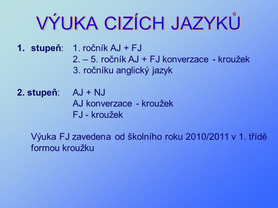 1.stupeň:1. ročník AJ + FJ 2. – 5. ročník AJ + FJ konverzace - kroužek 3. ročníku anglický jazyk 2. stupeň:AJ + NJ AJ konverzace - kroužek FJ - krouže