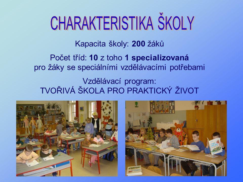 Kapacita školy: 200 žáků Počet tříd: 10 z toho 1 specializovaná pro žáky se speciálními vzdělávacími potřebami Vzdělávací program: TVOŘIVÁ ŠKOLA PRO P