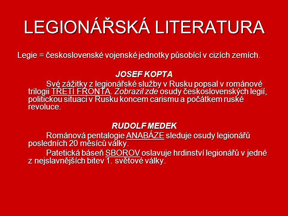 MEZIVÁLEČNÁ LITERATURA V období mezi dvěma válkami dosáhla česká literatura významné úrovně. Působí zde různé filozofické i umělecké vlivy, autory jak