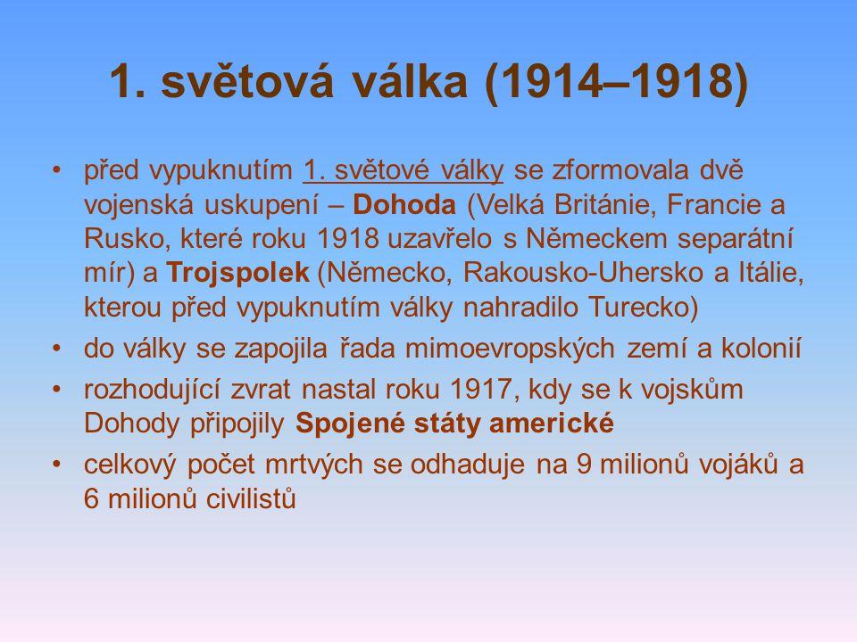1. světová válka (1914–1918) před vypuknutím 1. světové války se zformovala dvě vojenská uskupení – Dohoda (Velká Británie, Francie a Rusko, které rok