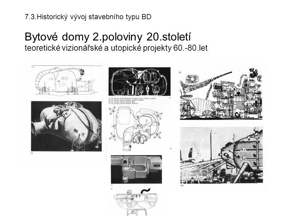 7.3.Historický vývoj stavebního typu BD Bytové domy 2.poloviny 20.století teoretické vizionářské a utopické projekty 60.-80.let