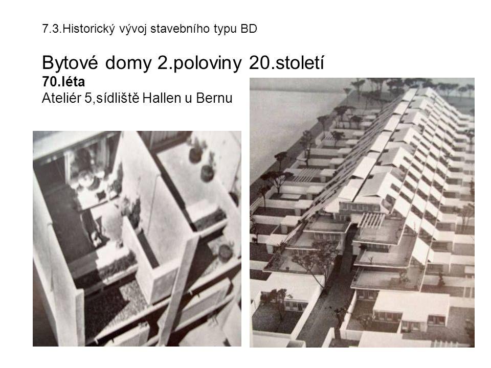 7.3.Historický vývoj stavebního typu BD Bytové domy 2.poloviny 20.století 70.léta Ateliér 5,sídliště Hallen u Bernu