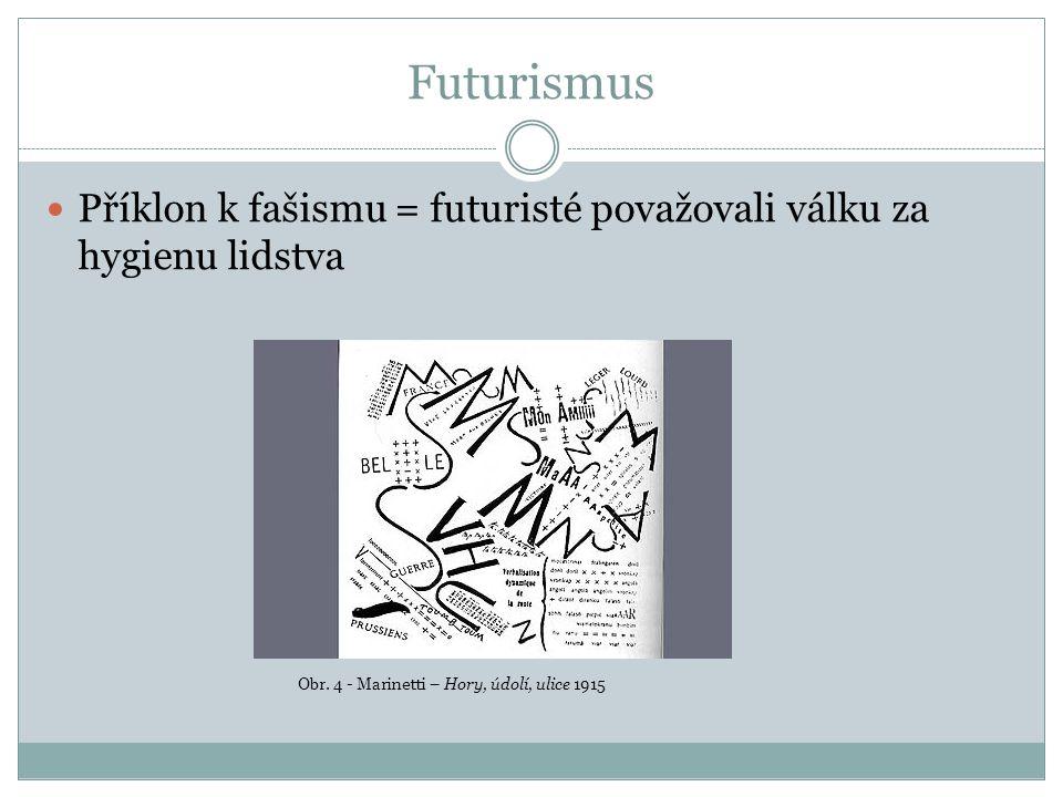 Futurismus Příklon k fašismu = futuristé považovali válku za hygienu lidstva Obr.