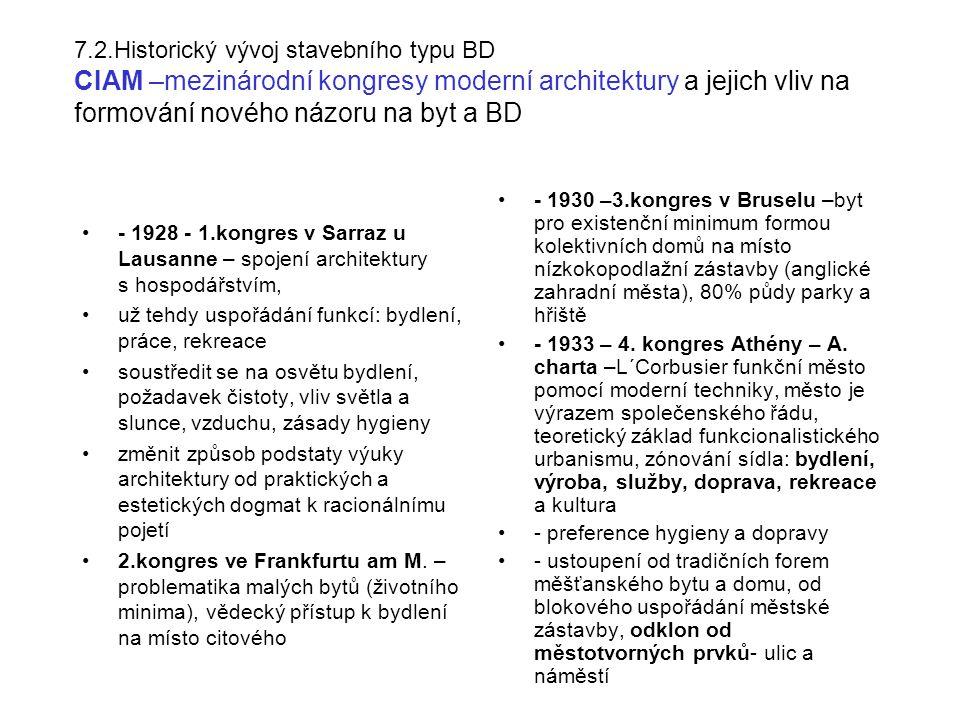 7.2.Historický vývoj stavebního typu BD CIAM –mezinárodní kongresy moderní architektury a jejich vliv na formování nového názoru na byt a BD - 1928 - 1.kongres v Sarraz u Lausanne – spojení architektury s hospodářstvím, už tehdy uspořádání funkcí: bydlení, práce, rekreace soustředit se na osvětu bydlení, požadavek čistoty, vliv světla a slunce, vzduchu, zásady hygieny změnit způsob podstaty výuky architektury od praktických a estetických dogmat k racionálnímu pojetí 2.kongres ve Frankfurtu am M.