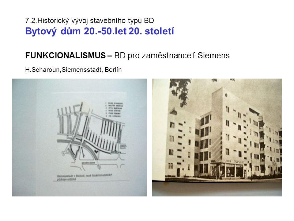 7.2.Historický vývoj stavebního typu BD Bytový dům 20.-50.let 20.