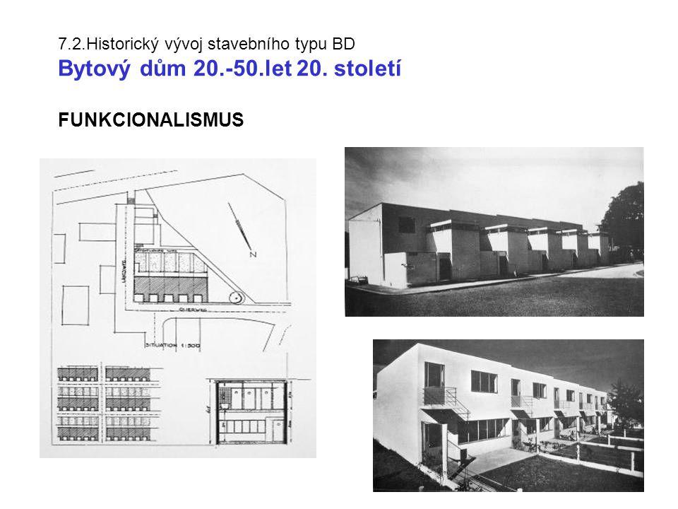 7.2.Historický vývoj stavebního typu BD Bytový dům 20.-50.let 20. století FUNKCIONALISMUS