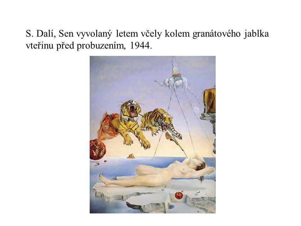 S. Dalí, Sen vyvolaný letem včely kolem granátového jablka vteřinu před probuzením, 1944.