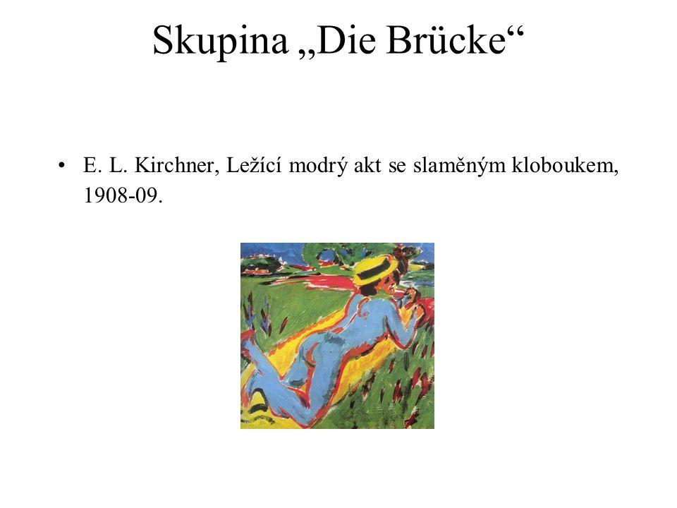 """Skupina """"Die Brücke"""" E. L. Kirchner, Ležící modrý akt se slaměným kloboukem, 1908-09."""