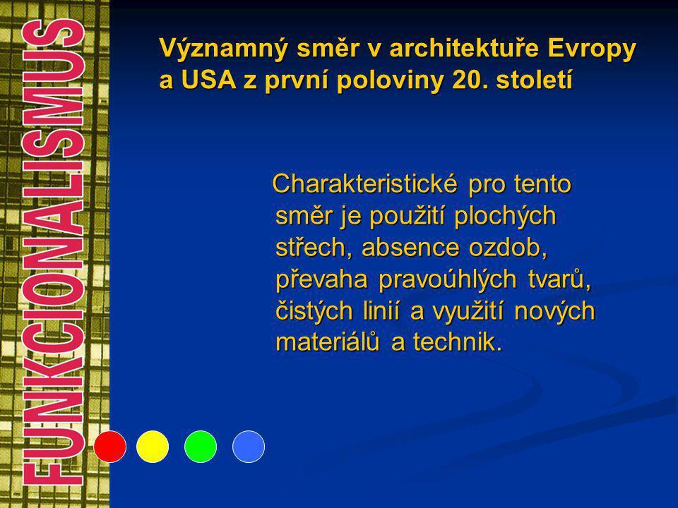 Významný směr v architektuře Evropy a USA z první poloviny 20. století Charakteristické pro tento směr je použití plochých střech, absence ozdob, přev