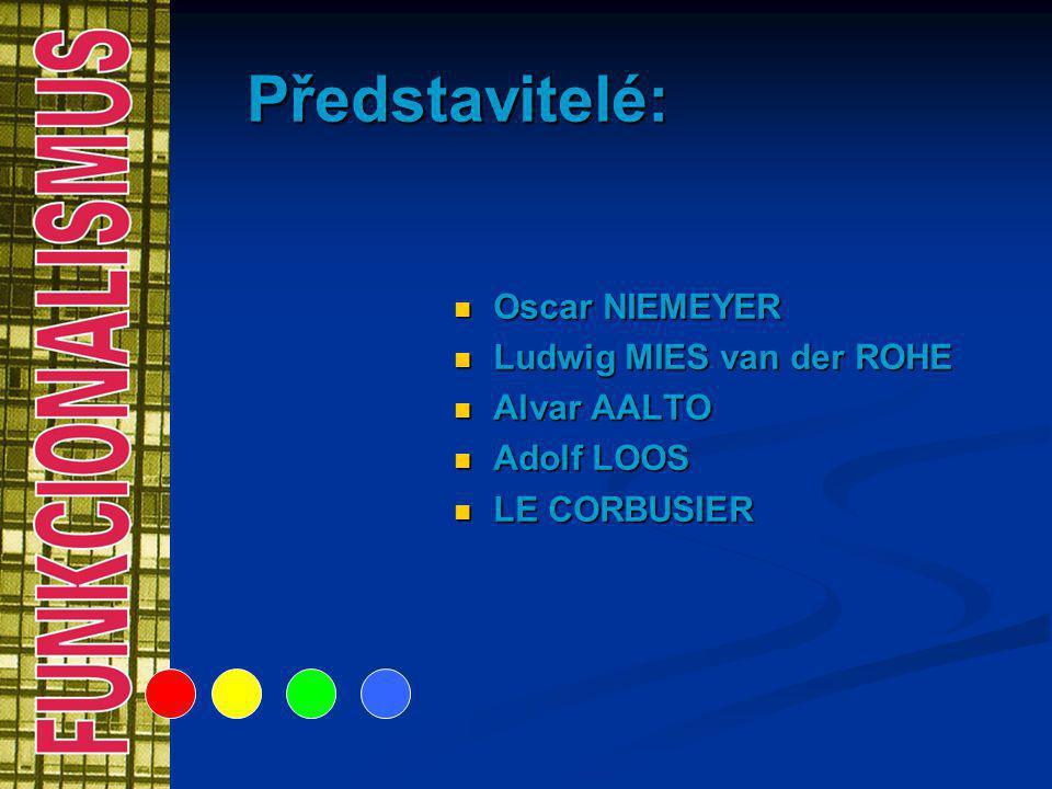 Představitelé: Oscar NIEMEYER Ludwig MIES van der ROHE Alvar AALTO Adolf LOOS LE CORBUSIER