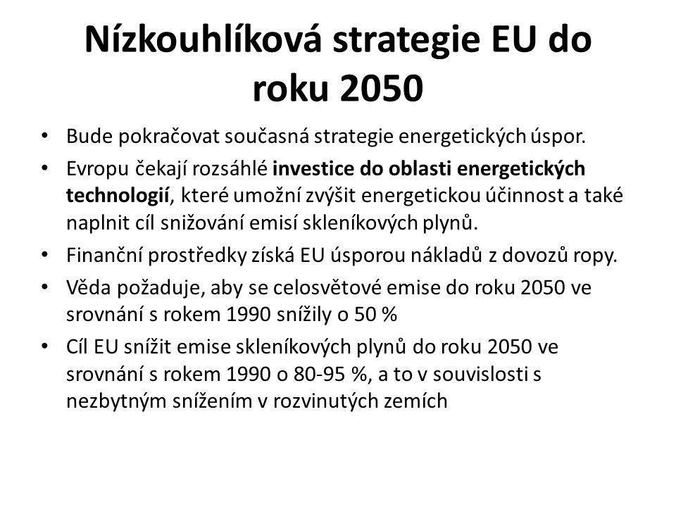 Nízkouhlíková strategie EU do roku 2050 Bude pokračovat současná strategie energetických úspor.