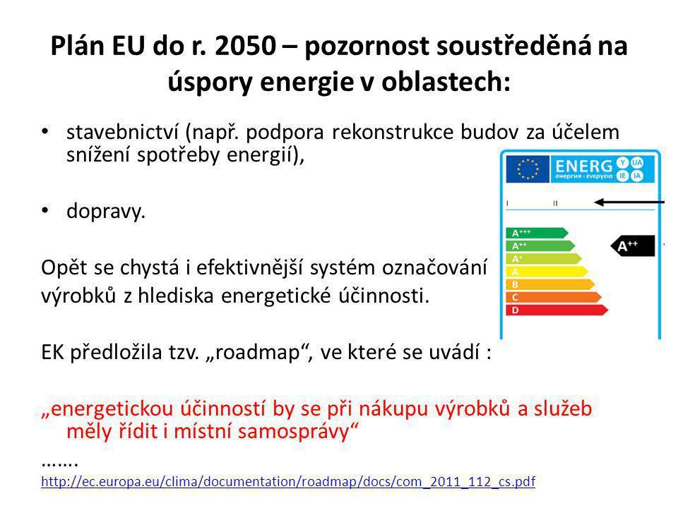 Plán EU do r.2050 – pozornost soustředěná na úspory energie v oblastech: stavebnictví (např.