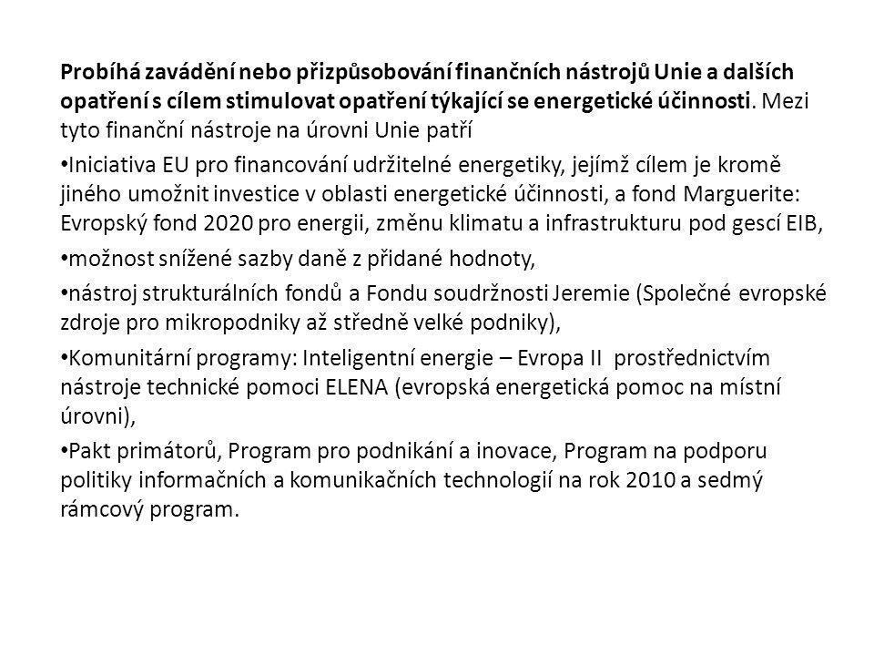 Probíhá zavádění nebo přizpůsobování finančních nástrojů Unie a dalších opatření s cílem stimulovat opatření týkající se energetické účinnosti.