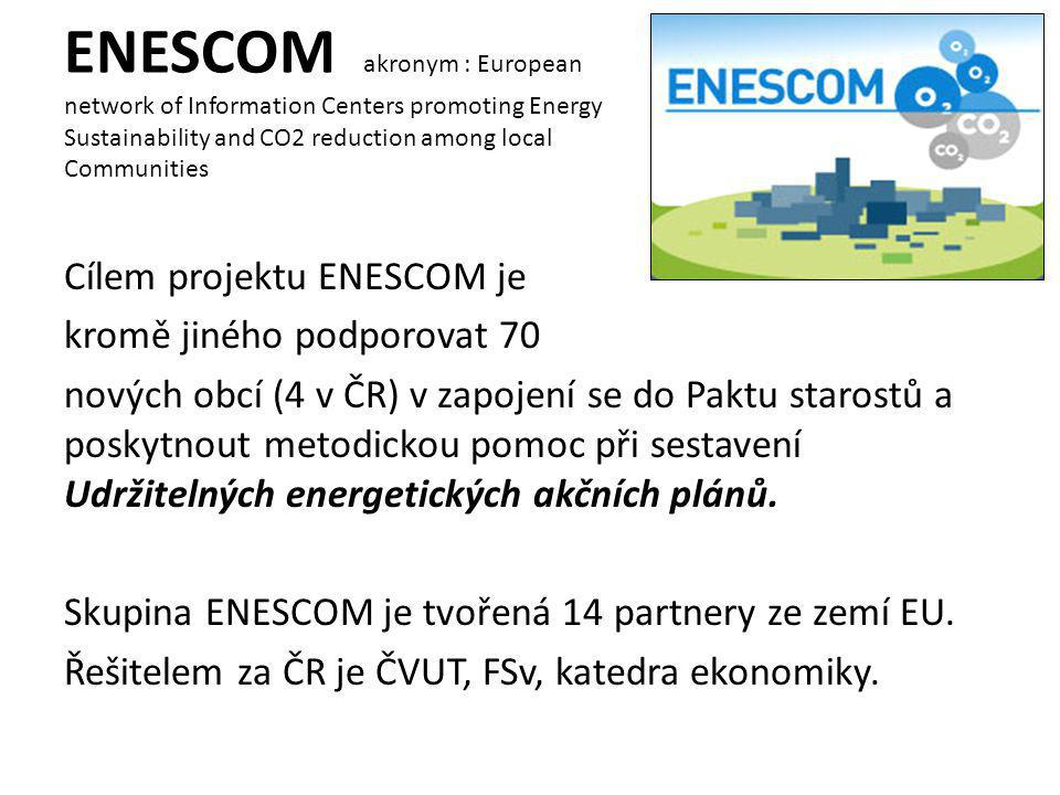 ENESCOM akronym : European network of Information Centers promoting Energy Sustainability and CO2 reduction among local Communities Cílem projektu ENE