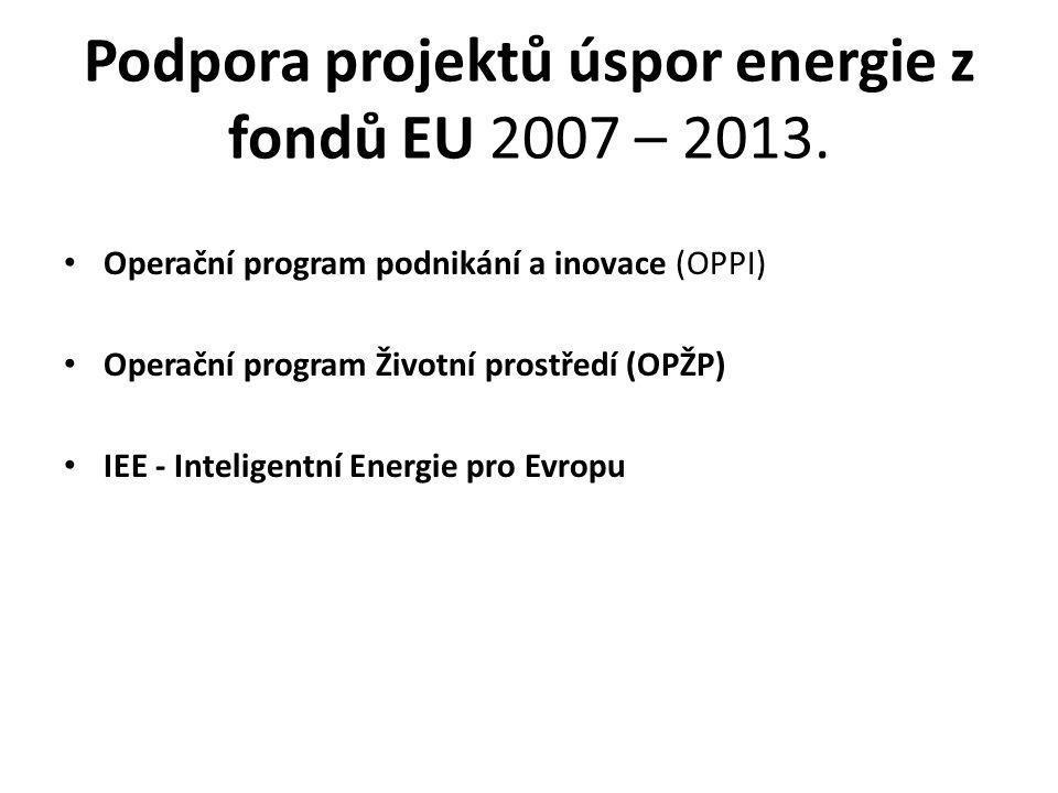 Podpora projektů úspor energie z fondů EU 2007 – 2013.