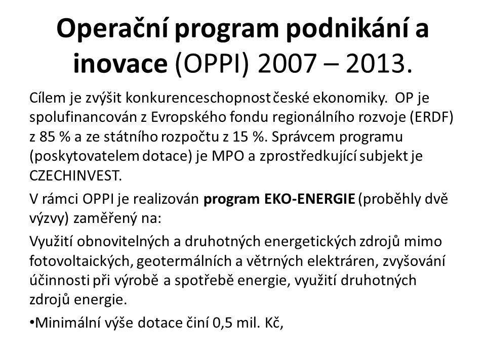 Operační program podnikání a inovace (OPPI) 2007 – 2013.