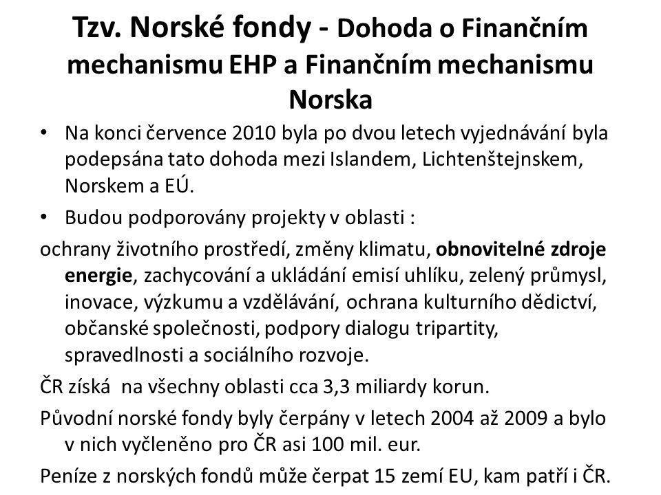 Tzv. Norské fondy - Dohoda o Finančním mechanismu EHP a Finančním mechanismu Norska Na konci července 2010 byla po dvou letech vyjednávání byla podeps
